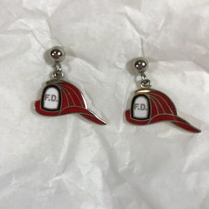 Vtg Fire Fighters Helmet Pierced Dangle Earrings